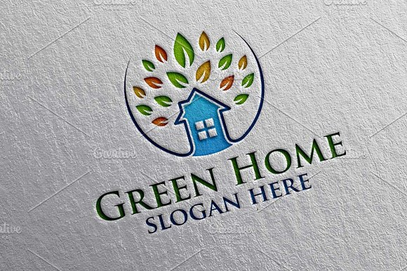 Green Home Oak Real Estate Logo