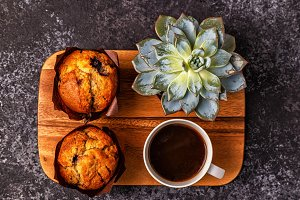 muffins, flower and coffee