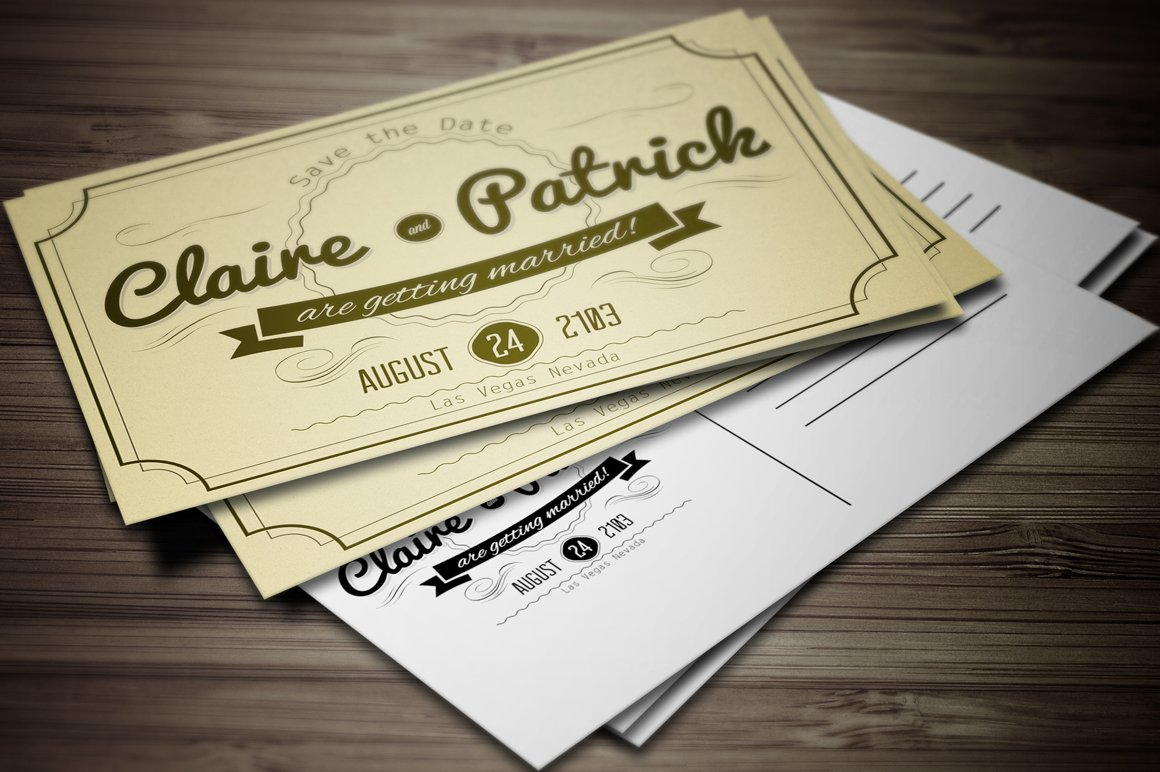 Vintage Wedding Invitation vol.2. ~ Invitation Templates ~ Creative ...