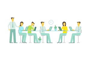 Vector flat illustration. Work in the office team. Six people at the table. Work days business discussion teamwork