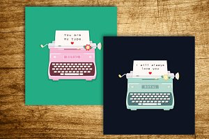 Two Love Postcards Typewriters