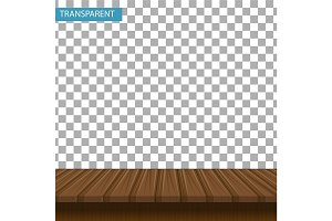 Realistic wooden table on a transparent background. Mock-up for your product display. 3d countertop oak, walnut color. Vector illustration