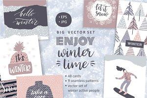 Enjoy winter time! Big vector set.