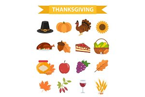 Happy Thanksgiving Day icon set, flat, cartoon style. Harvest festival collection design elements with turkey, pumpkin, pilgrim hat, pie, vegetables, fruits. Autumn holiday season. Vector illustration.
