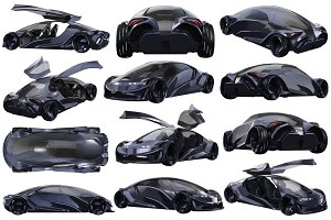 Car concept auto dark set