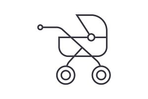 baby buggy,carriage vector line icon, sign, illustration on background, editable strokes