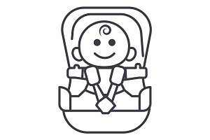 baby in car, security chair vector line icon, sign, illustration on background, editable strokes