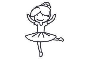 ballerina girl,balet dancer vector line icon, sign, illustration on background, editable strokes