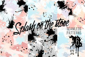 6 seamless patterns. Splash & stone.