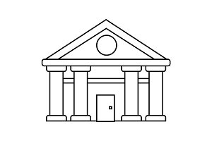 bank,court of justice vector line icon, sign, illustration on background, editable strokes
