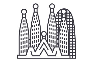 barcelona,sagrada familia vector line icon, sign, illustration on background, editable strokes