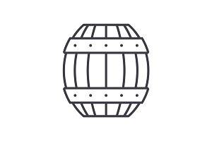 barrel vector line icon, sign, illustration on background, editable strokes