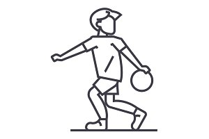 basketball vector line icon, sign, illustration on background, editable strokes