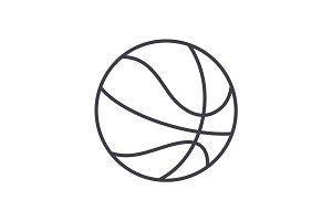 basketball sign vector line icon, sign, illustration on background, editable strokes
