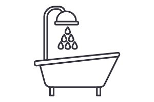 bathtub shower vector line icon, sign, illustration on background, editable strokes
