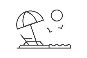 beach vector line icon, sign, illustration on background, editable strokes