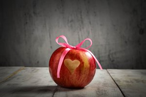 Fresh apple with heart