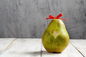 Fresh pear with heart