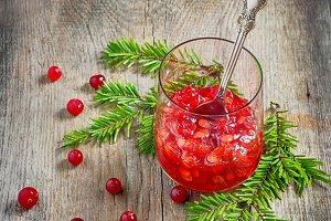 Viburnum jam in glass