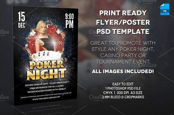 poker night poster print template flyer templates creative market. Black Bedroom Furniture Sets. Home Design Ideas