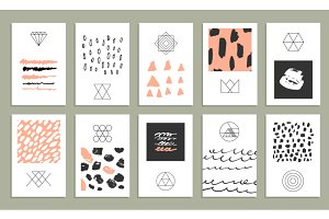 Marker textures,25 cards,8 gift tags