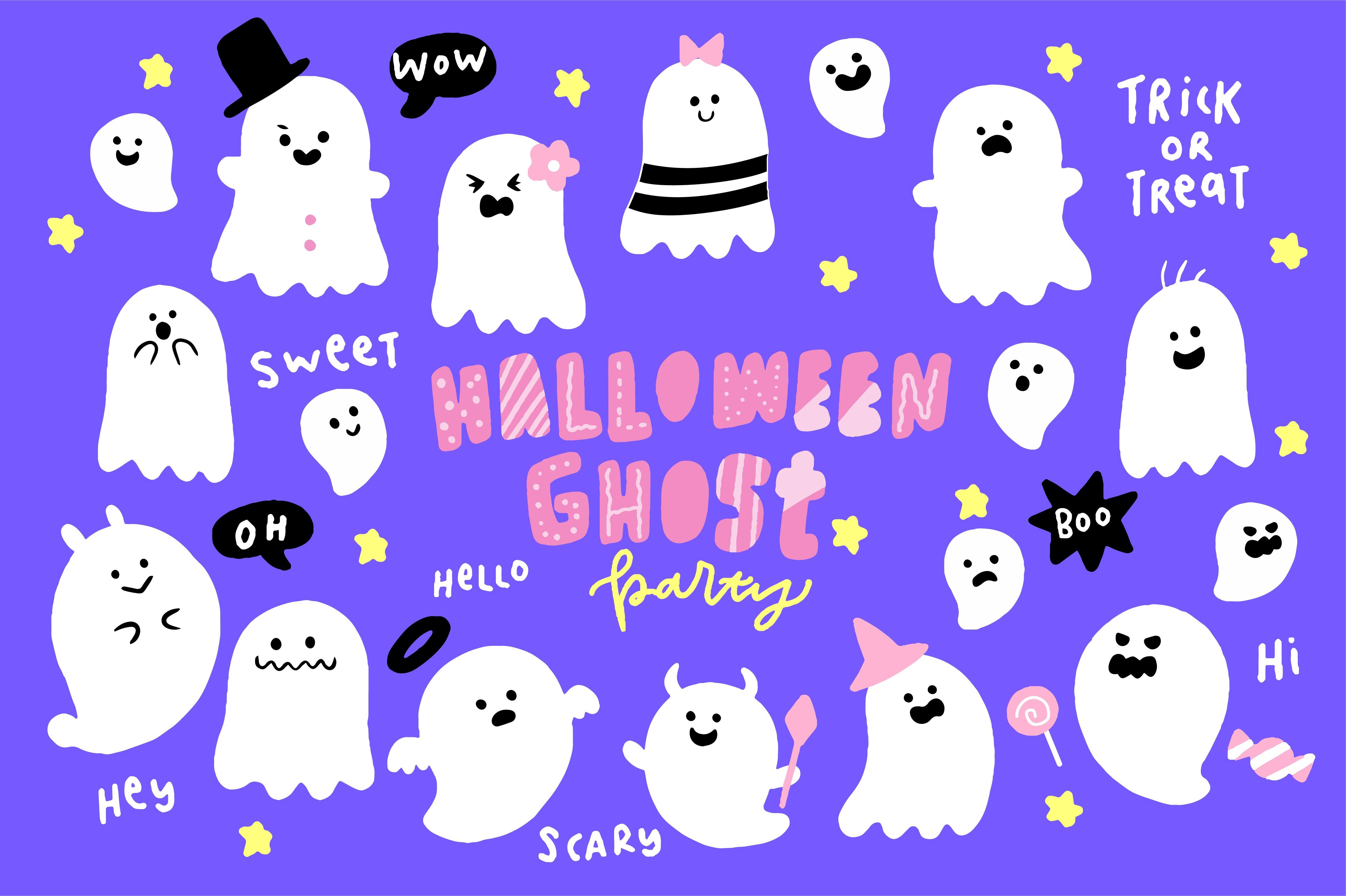 Cute Halloween Ghosts Illustrations ~ Illustrations ...