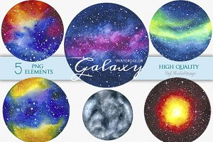 watercolor galaxy space clipart