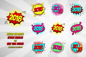 Set of Happy New Year 2018 Bubbles