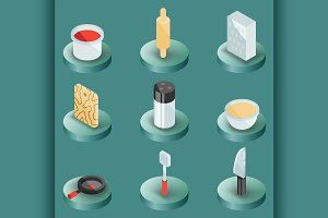 Cooking color isometric icons