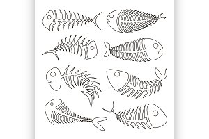 Fishbone set icons