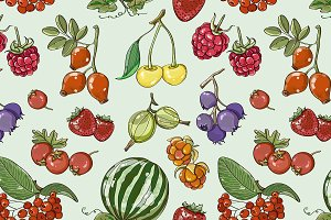 Set of different berries pattern