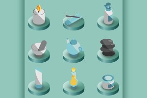 Spa color isometric icons