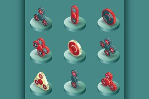 Spinners color isometric icons