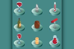 Wine color isometric icons