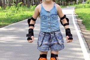 A girl on roller skates