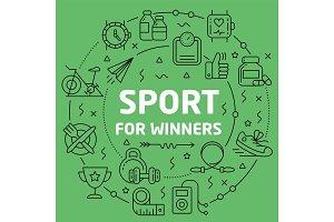 Linear illustration sport for winners