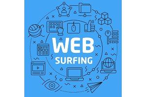 Linear illustration web surfing