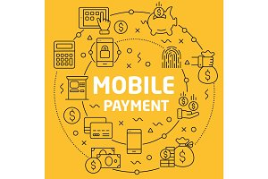 Linear illustration mobile payment