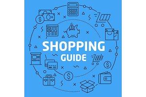 Linear illustration shopping guide