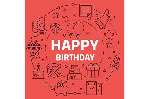Linear illustration happy birthday