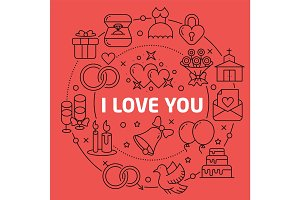 Linear illustration love you