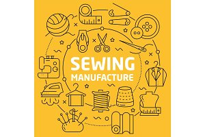 Linear illustration sewing manufacture