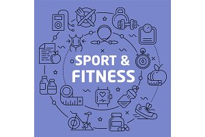 Linear illustration sport fitness