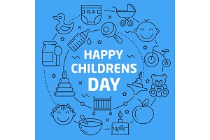 Linear illustration happy children day