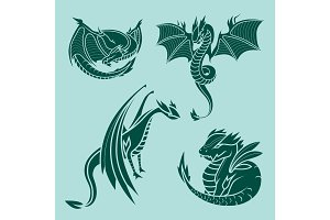 Chinese dragon silhouettes tattoo mythology tail monster magic icon asian animal art vector illustration.