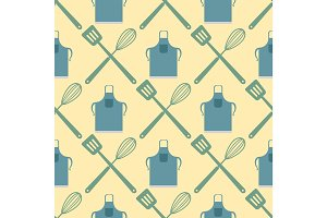 Spatula whisk seamless pattern cooking badge motivation text vector illustration bakery shop food typography design