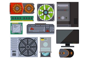 Computer parts network component accessories various electronics devices desktop pc processor drive hardware vector illustration.