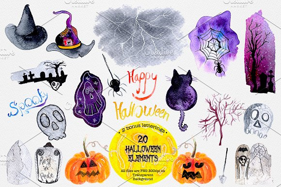 Halloween Watercolor Clipar-Graphicriver中文最全的素材分享平台
