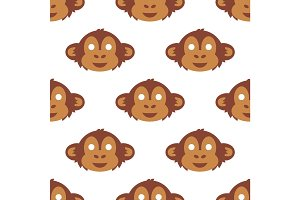Cartoon animal monkey party masks vector holiday illustration party fun seamless pattern background.