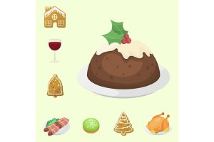 Traditional christmas food and desserts holiday decoration xmas sweet celebration meal vector illustration.